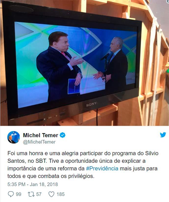 temer silvio santos - Temer grava participação no Programa Silvio Santos