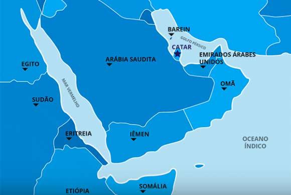 mapa catar abr - Comércio entre Brasil e Catar aumenta apesar de embargo econômico