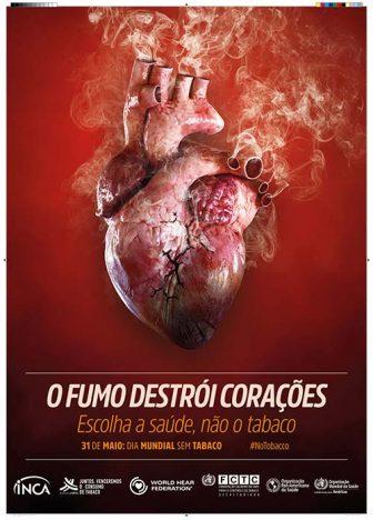 poster coração fumando 336x468 - Dia Mundial sem Tabaco: campanha destaca relação do cigarro com doenças do coração