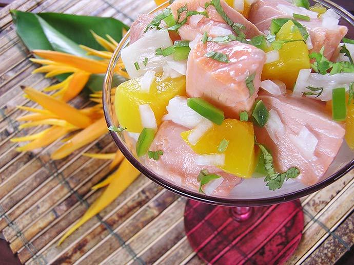 Ceviche Tropical de Salmão - Receita de verão - Ceviche Tropical de Salmão