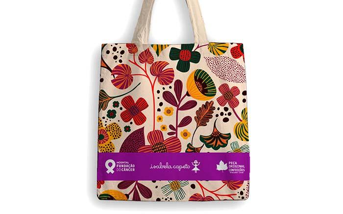 Bolsa estampa Isabela Capeto - Hospital Fundação do Câncer faz ação com estilista Isabela Capeto