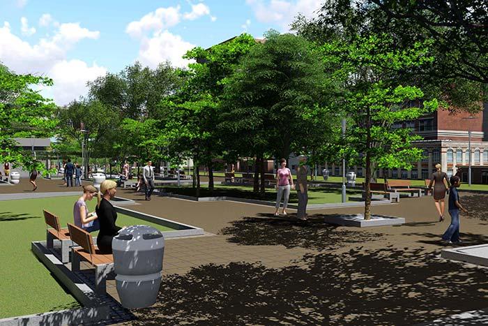 Praça do Imigrante em Novo Hamburgo será um dos espaços revitalizados - Prefeitura de Novo Hamburgo lança edital do BID para obras no Centro