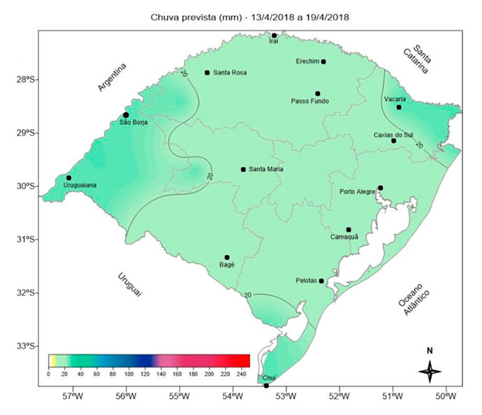 Fim de semana chuvoso e tempo seco até quinta feira - RS: fim de semana chuvoso e tempo seco até quinta-feira