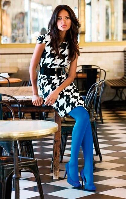 azul - Tendências Pinterest | Meia-calça colorida