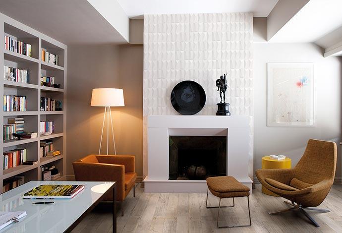 californian wood 20x120 arpege blanc 95x195 ret sala com lareira - Parede é um dos destaques da Portobello