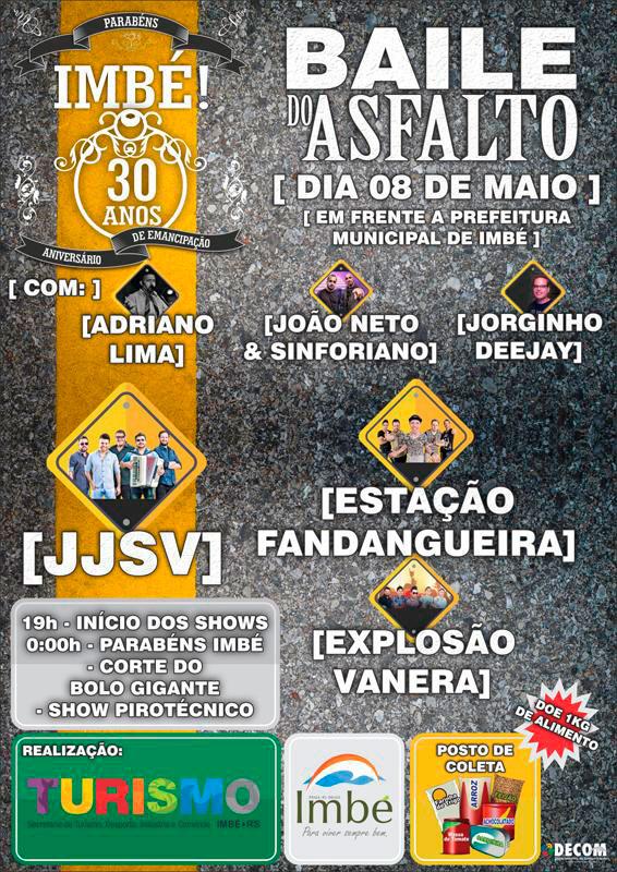BAILEDOASFALTO1525379747270 - Baile do Asfalto marcará aniversário de 30 anos de Imbé