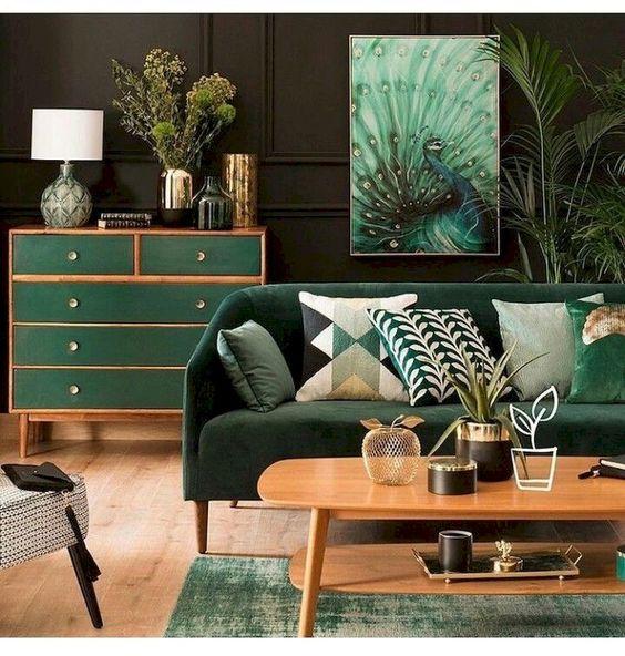 Resultado de imagem para decoração laranja e verde sala