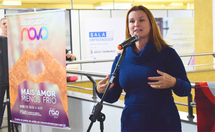 prefeita Novo Hamburgo Fátima - Prefeita Fátima Daudt lança a Campanha do Agasalho 2018 de Novo Hamburgo