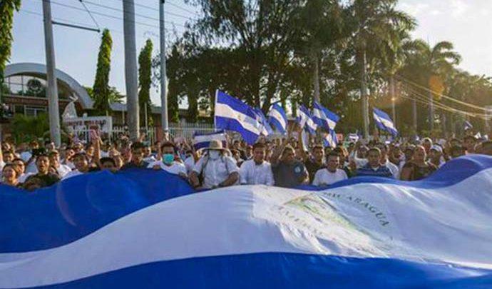 protesto em managua 690x405 - OEA conclui que mortes na Nicarágua chegam a 76