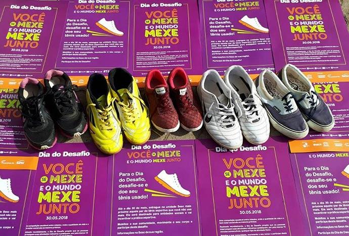 Doacao Tenis DESAFIO SOCIAL DDD 2018 foto Sesc Tramandai - Campanha de doação de calçados segue até 27/06 em todo RS