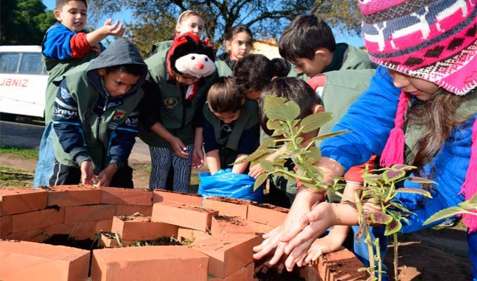 Estudantes plantam mudas às margens de arroio no bairro Canudos - Estudantes plantam mudas às margens de arroio no bairro Canudos