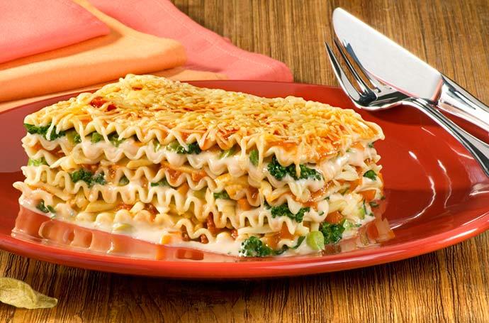 Lasanha Vegetariana aos 3 Queijos - Lasanha vegetariana aos três queijos