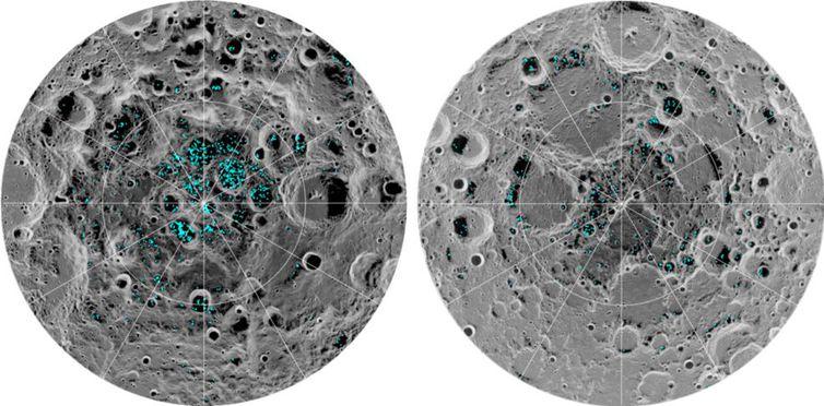 gelo na lua nasa - Nasa identifica dois depósitos de gelo na Lua
