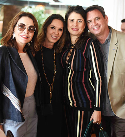 Patricia Mayer Esther Schattan Patricia Wood e Alexandre Barroso - Ornare faz almoço especial na abertura da CASACOR Rio