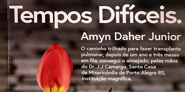 livro tempos difíceis amyn daher jr - Livro conta a história de paciente que recebeu pulmão