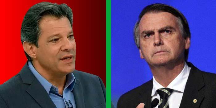 Fernando Haddad Jair Bolsonaro - Pesquisa Datafolha dá vitória a Bolsonaro