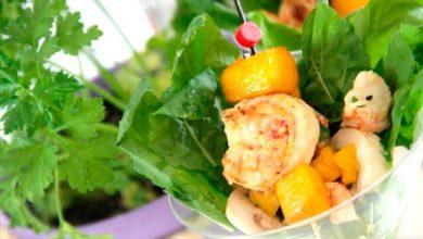 Salada de camarão 390x220 - Salada de camarão com manga agridoce