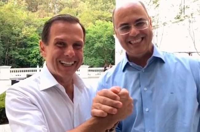 doria e witze4 - Dória e Witzel discutem integração entre São Paulo e Rio