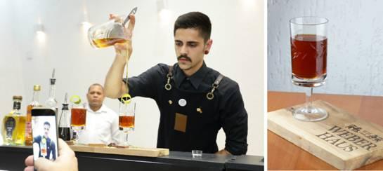 Bartender Rafael Câmara do Restaurante Urbana Farmcy e o drink 3º colocado - Bartender do RS fica entre os três melhores no II Concurso Nacional de Rabo de Galo