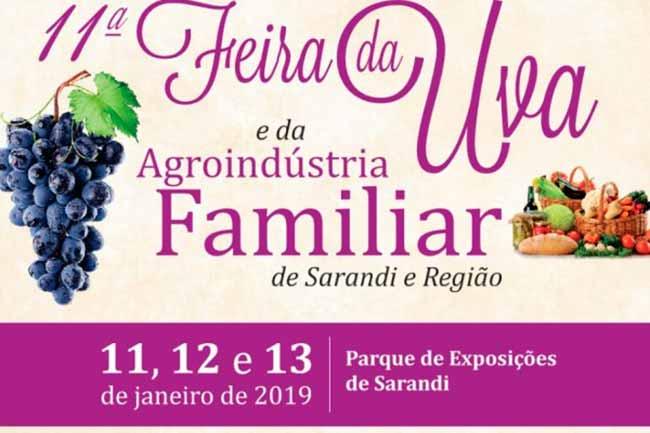 Feira da Uva - Feira da Uva e Agroindústria Familiar inicia dia 11 em Sarandi