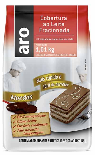 Mockup Cobertura ao Leite Fracionada Moedas Aro - Makro relança linha de chocolates voltada ao público profissional