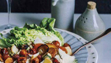 Photo of Salada de legumes grelhados com queijos e croûtons