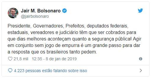 Twiter de Bolsonaro - Bolsonaro quer maior envolvimento das autoridades na segurança