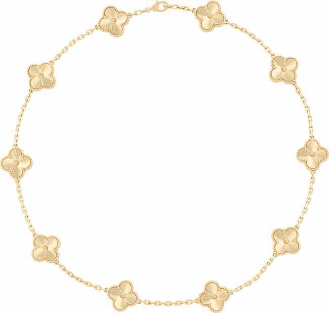 Van CleefArpels Colar Vintage Alhambra Ouro Amarelo Guilhochê R49.60000 - Van Cleef & Arpels apresenta o brilho do ouro guilhochê