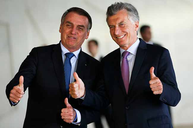 bolso e macri - Para Macri, Bolsonaro diz confiar na modernização do Mercosul