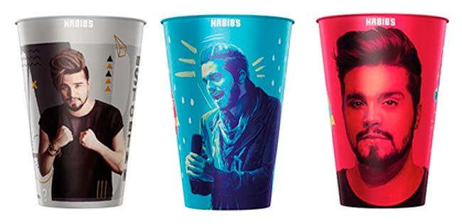 copos luan - Habib's lança novos copos colecionáveis de Luan Santana