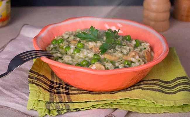 risoto - Risoto de espinafre, ervilha e champignon