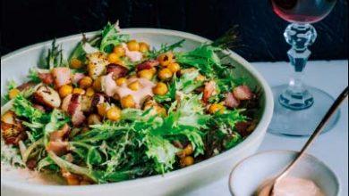 sald 390x220 - Salada de alface frisée com bacon e grão-de-bico