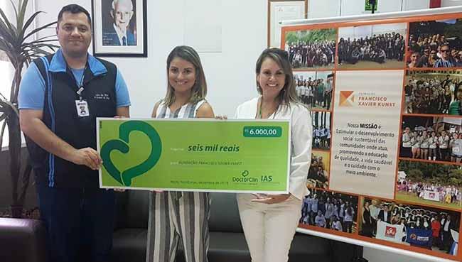 doação da Doctor na Fundação Francisco Xavier Kunst - Doctor Clin faz entrega simbólica de doações a entidades