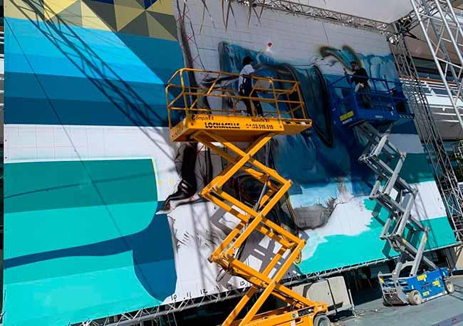Eduardo Kobra em Monaco 2 - Artista brasileiro Eduardo Kobra pinta mural em Mônaco