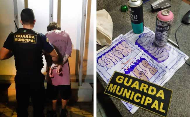 Guarda Municipal prende pichador no Centro - Pichador é preso em flagrante no Centro de Novo Hamburgo