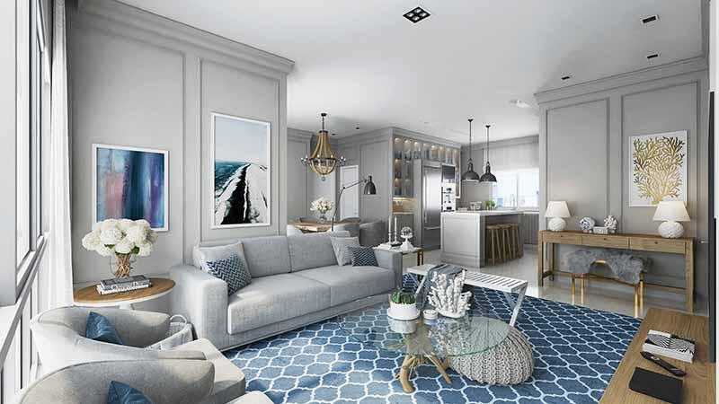 HAM 24 Living TipoA Apto1 EF - Luxo em Balneário Camboriú: Hamptons Village e Aurora Exclusive Home