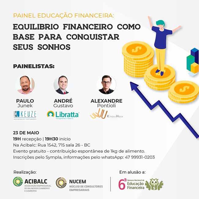 André Gustavo flayer - Painel sobre equilíbrio financeiro acontece na próxima quinta-feira em Balneário Camboriú