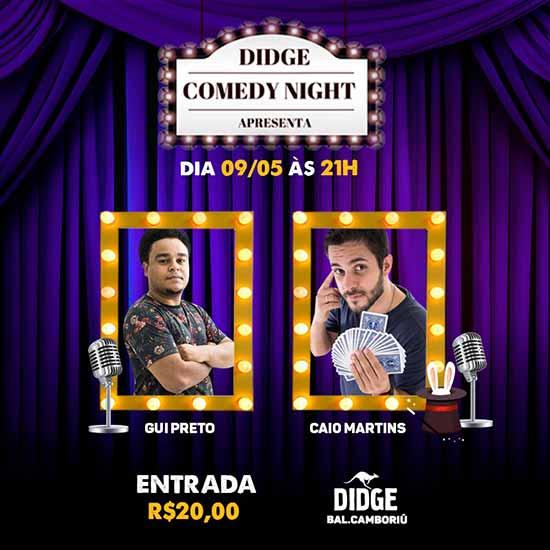 Flyer show comédia - Didge Comedy Nigh traz stand-up paulista nesta quinta-feira em Balneário Camboriú