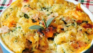 Torta de macarrão presunto e queijos 390x220 - Torta de macarrão, presunto e queijo