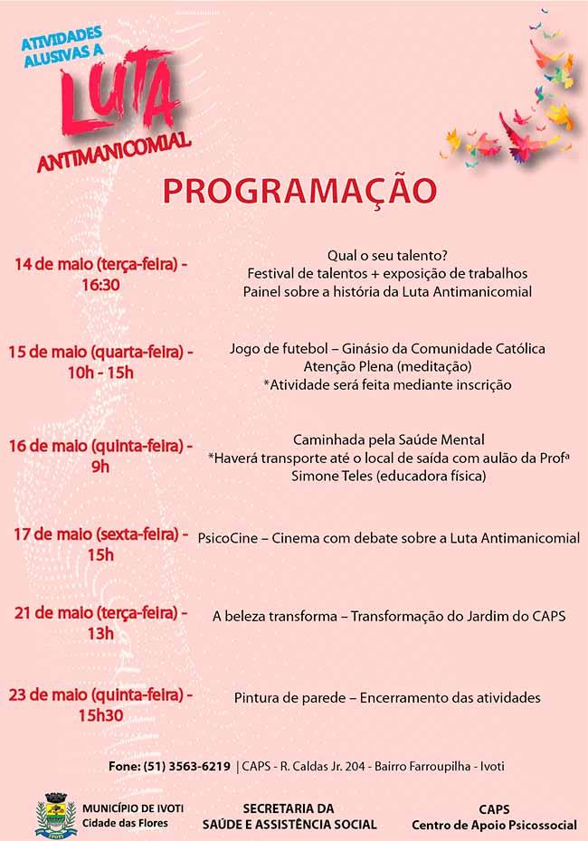antimanicomial ivoti - Luta Antimanicomial conta com diferentes atividades em Ivoti