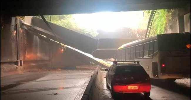 tunel rio - Desabamento fecha túnel no Rio de Janeiro