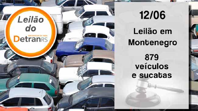 Leilão do Detran oferta 879 veículos e sucatas em Montenegro - Leilão do Detran em Montenegro nesta quarta