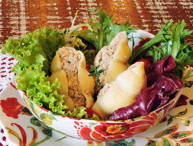 Salada de conchiglione recheado - Salada de conchiglione recheado