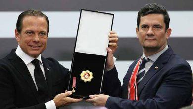 moro e doria 390x220 - Ministro Sergio Moro é homenageado em São Paulo