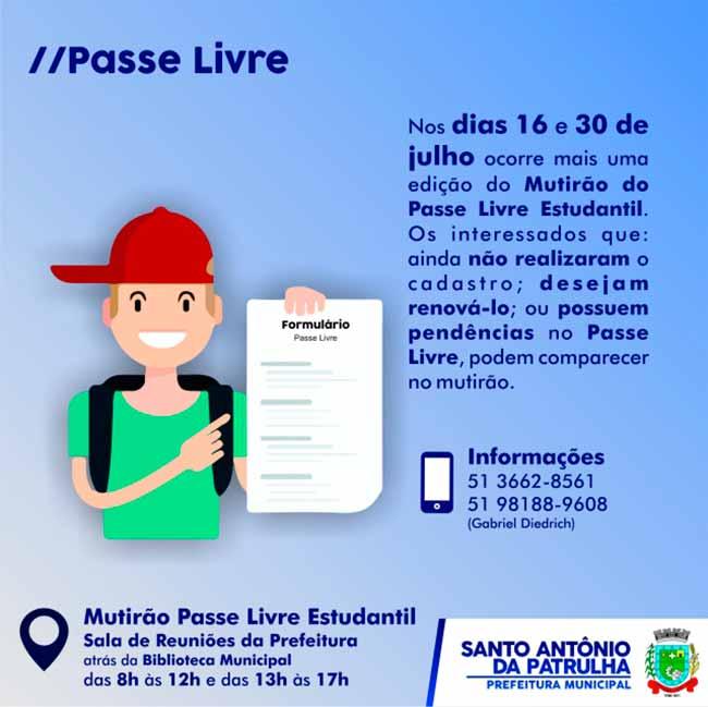 Mutirão do Passe Livre Estudanti - Santo Antônio da Patrulha realiza Mutirão do Passe Livre Estudantil dias 16 e 30