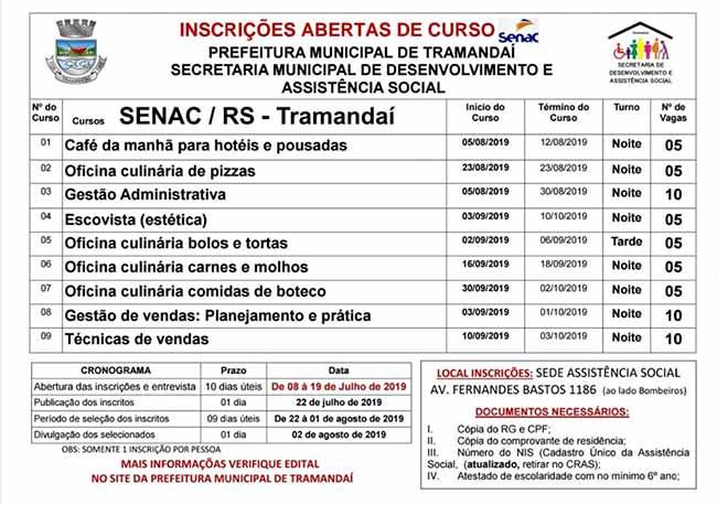 cursos tramandai - Tramandaí disponibiliza 60 vagas para cursos gratuitos