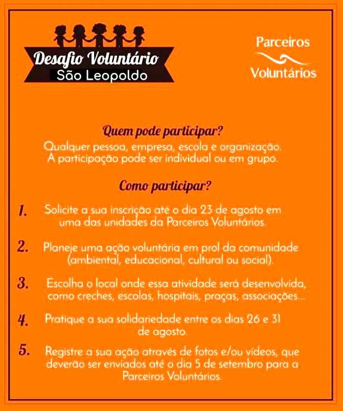 parceiros voluntarios programa semana do desafio voluntario - Parceiros Voluntários promove a Semana do Desafio Voluntário em São Leopoldo