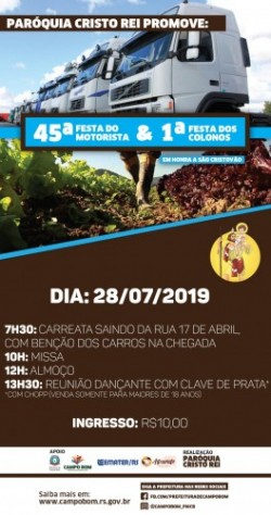 paroqcristorei - Campo Bom promove 45ª Festa do Motorista e 1ª Festa dos Colonos