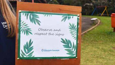 Colégio Imaculada Conceição instala placas em inglês no Parque Municipal Romeo Wolf2 390x220 - Alunos instalam placas em inglês em parque de Dois Irmãos