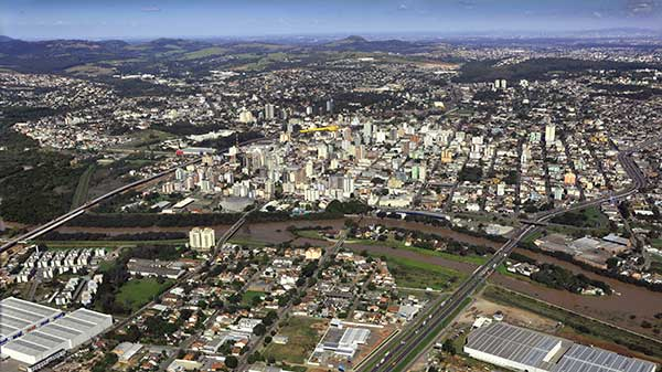 Foto aérea de São Leopoldo RS - Desenvolvimento econômico de São Leopoldo é o destaque do Boletim da ACIST-SL